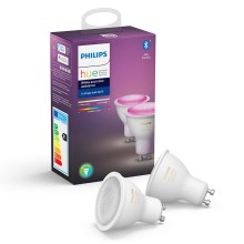 KOMPLEKT 2x LED Hämardatav pirn Philips WHITE AND COLOR AMBIANCE GU10/5,7W/230V 2000-6500K