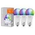 KOMPLEKT 3 x LED RGB Hämardatav pirn SMART+ E27/9,5W/230V 2700K-6500K Wi-Fi - Ledvance