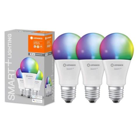 KOMPLEKT 3x LED RGBW Hämardatav pirn SMART+ E27/9W/230V 2700K-6500K Wi-Fi - Ledvance